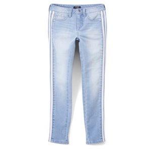 Bebe skinny jeans leather stripe size 24